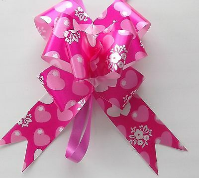 Deco Mariage & Fetes  10 Noeuds A Tirer - Gros Coeurs  Rose Ref. 226