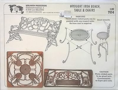 Verlinden 1:35 Wrought Iron Bench Table And Chairs Panchina Tavolo Sedie Art 724
