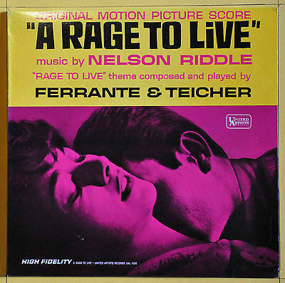 Original Press Nelson Riddle A Rage To Live United Artists  UAL 4130  USA 1965
