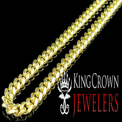 925 Sterling Silver Yellow Gold Finish 7mm Solid Miami Cuban Link Chain Necklace