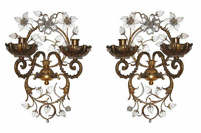 Pair Vintage Maison Bagues Style Gilt Brass & Glass Sconces