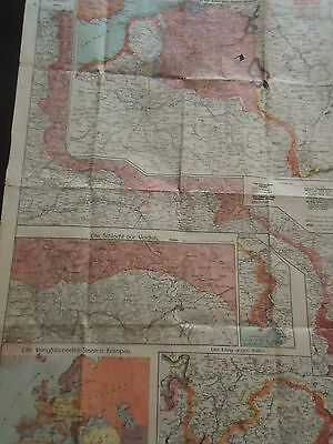 Vintage German Wall Map- 1916-WW I Era- Shows  Front Lines  Occupation, Europe