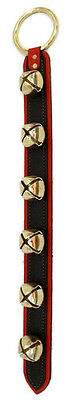 6 SLEIGH BELLS on 2 LAYER BLACK & RED LEATHER STRAP - Amish Handmade in USA