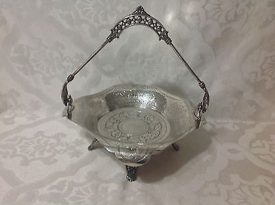 1896 Beaut Silver Plate Victorian 4 Footed Bridal Basket; James W Tuft, Bos/Mass