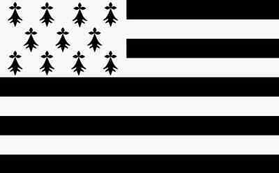 """18"""" x 12"""" (45 x 30 cm) Brittany France Sleeved Boat Hand Waving Polyester Flag"""