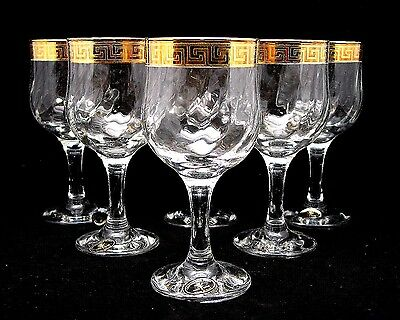 SET of 6 Italian Crystal Wine or Water Glasses, 24K Gold Greek Key Trim, 9 Oz.