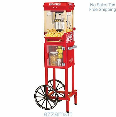 Popcorn Trolley Cart Pop Corn Kettle Popper Machine Maker Red Vintage Stand New
