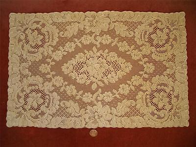 "1 REC 18"" Antique Vtg ALENCON LACE DRESSER SCARF RUNNER DOILY CENTERPIECE PANEL"