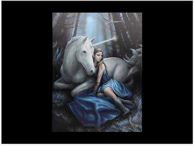 "NEW DESIGN Anne Stokes ""Blue Moon"" Large 40x30cm Unicorn Canvas Wall Art"