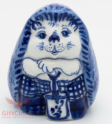 Gzhel porcelain figurine of cute Hedgehog w shovel
