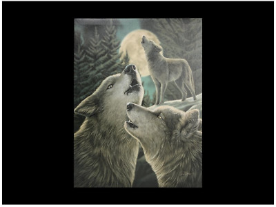 """Lisa Parker """"Wolf Song"""" Large 30 x 40cm Canvas Wall Art Plaque Fantasy Wolf"""