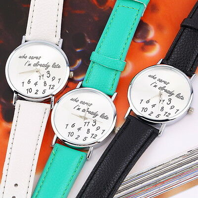 New Fashion Luxury Women Men Wrist Watches PU Leather Band Funny Cute AU
