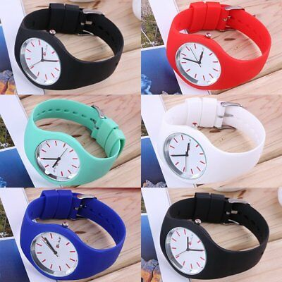 Fashion Men Women Silicon Strap Round Dial Sport Leisure Wrist Watch Jewelry AU