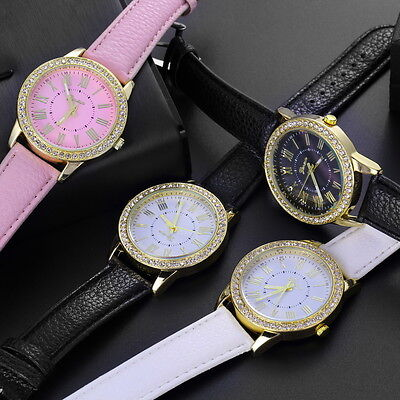 Womens Fashion Bling Crystal Faux Leather Strap Analog Quartz Wrist Watch AU