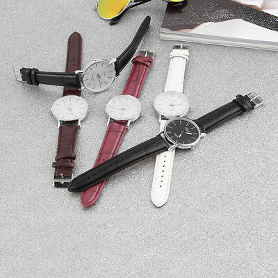 Fashion Men Women Simple Style Big 3 Hands PU Leather Quartz Wrist Watch AU