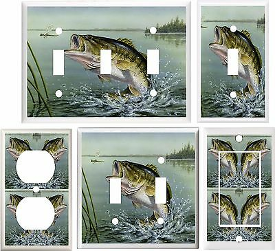 Largemouth Bass Fishing Man Cave Decor Light Switch Cover Plate Or Outlet V894