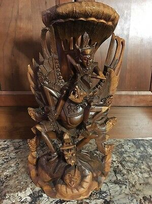 Intricate Wood Carving Lord Vishnu Riding Garuda The Mythical Bird Detailed Bali