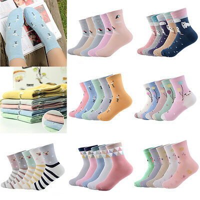 5 Pairs Cute Women Girls Wool Blend Warm Soft Thick Casual Sports Winter Socks