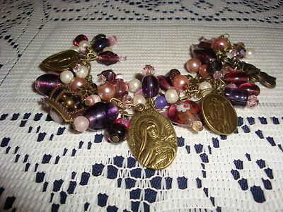 Bracelet Religious Charm Medals Chunky Ooak Purple Dedicated St.therese Bronze