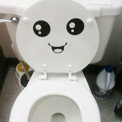 2X Funny Smiley Face Toilet Wall Decal Sticker Mural Art Decor Bathroom Gift SE