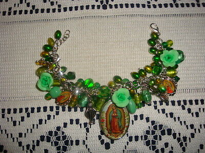 Bracelet Religious Charm Medals Chunky Ooak Green Style Our Lady Of Guadalupe