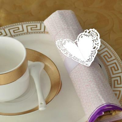50pcs Paper Heart Laser Cut Napkin Ring Wedding Party Table Decoration