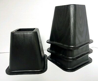 6 Inch Heavy Duty Bed Risers  Set of 4  Black