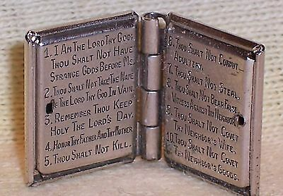 VINTAGE Sterling Silver 10 COMMANDMENTS in HOLY BIBLE Book Medal OPENS 5.4 grams