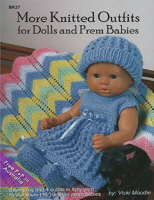 NEW More Knitted Outfits For Dolls & Prem Babies by Vicki Moodie