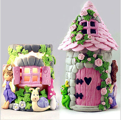 3D Fairy Elf House Door Flower Silicone Fondant Mould Cake Decor Chocolate Mold