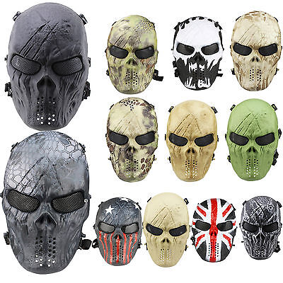 Airsoft Paintball Tactical Full Face Mask Skull Skeleton Gear Halloween War Game