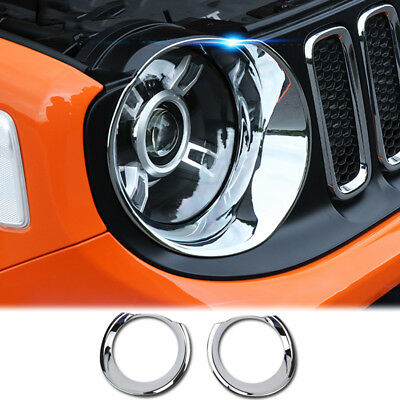 Front Headlight Lamp Grille Chrome Cover Trim Bezel For Jeep Renegade 2015–2018