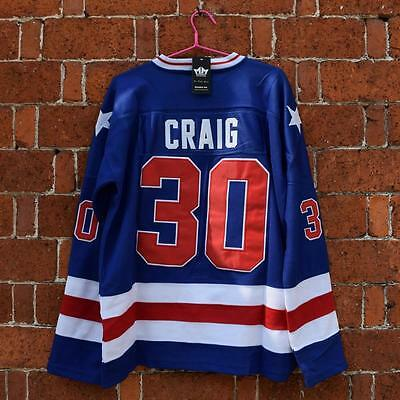 Jim Craig #30 1980 Miracle On Ice USA Hockey Jersey Unsigned BLUE SIZE M-3XL