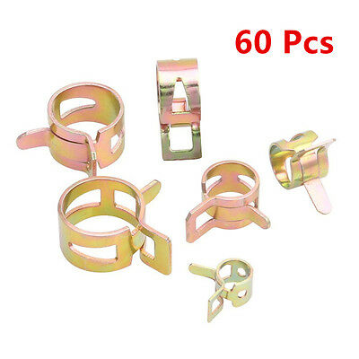 60 Pcs 6 Size 14-24mm Inner Diameter Car Water Hose Oil Tube Clamp Fastener Clip