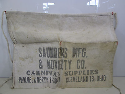 Vintage Saunders Mfg. & Novelty Co. Carnival Supplies Canvas Change Apron