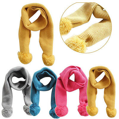 Baby Neckerchief Winter Warm Solid Color Scarves Boys Girl Kids Knitted Scarf