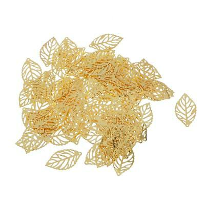 100pcs Hollow Tree Leaf Leaves Charm Bead Golden Decor Clothes Craft