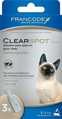 PIPETTE ANTIPARASITAIRE POUR CHAT CLEARSPOT Réf ZF170341ST