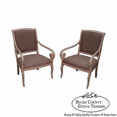 Quality Pair of Crackle Painted Finish Regency Style Arm Chairs