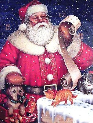 New 20 fully decorated Red SANTA Puppy Kitten List Christmas Cards & Envelopes