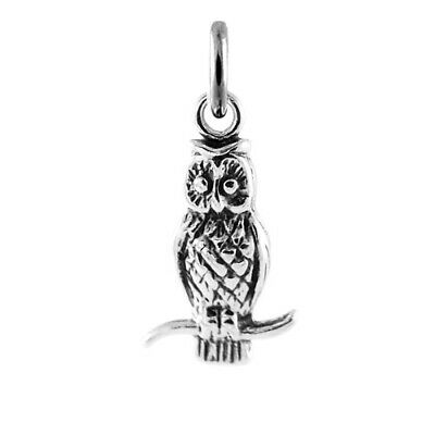 Sterling Silver 20x15mm Wise Owl Bird Charm hollow on the back