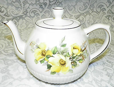 Teapot Wood & Sons Ironstone ELLGREAVE POTTERY Ralph Moses Enoch Yellow Flowers