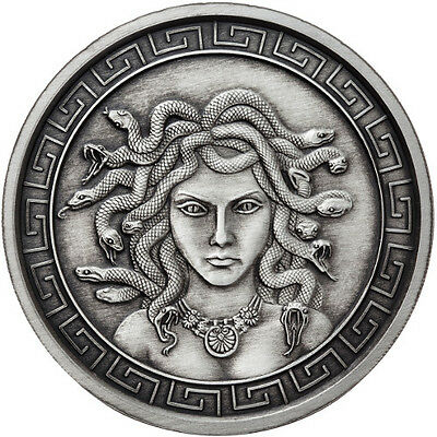 The Great Medusa 5 oz .999 Silver Antiqued Finish Round USA Made Bullion Coin