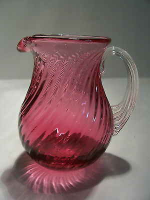 "Vintage Cranberry Glass Pitcher Creamer 3 3/8"" Pilgram"