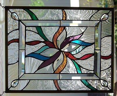 """Stained Glass window hanging Abstract 18 1/2 X 14 1/2"""""""