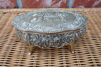 Vintage Ornate Relief Silver Metal Footed Treasure Chest Jewelry Casket Box