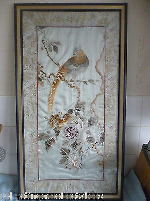 Antique Chinese  Embroidery Bird In Flora With Border Of Sea Creatures