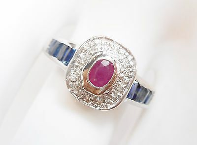 Genuine 14k White Gold Oval Ruby Baguette Sapphire Ring Sz 7 #2247