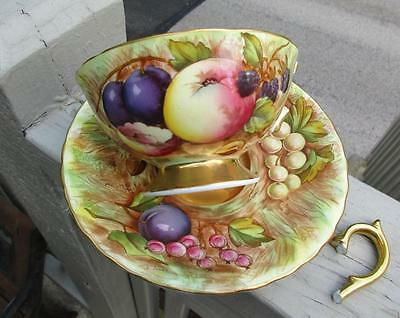 Antique Aynsley Orchard Gold Cup Saucer **Signed N. Brunt** AS IS