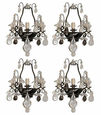 Set 4 Vintage French Bagues Style Tole Metal and Rock Crystal Sconces